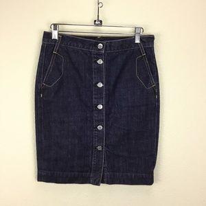 J. Crew Denim Dark Wash Skirt Button Front Size 0